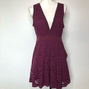 Free People Deep V Lace Floral Dress Size Small